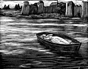 wood-engraving original print: The Boat for Cambridge Book of Poetry for Children